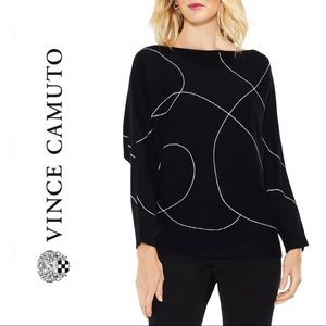 Vince Camuto Ink Swirl Ribbed Sweater Rich Black